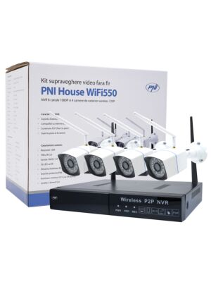 Kit supraveghere video PNI House WiFi550 NVR si 4 camere wireless, 1.0MP